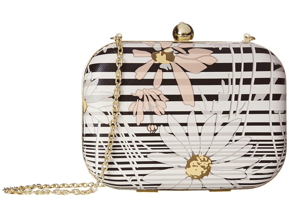 Jessica McClintock - Floral Stripe Minaudier (Black) Handbags