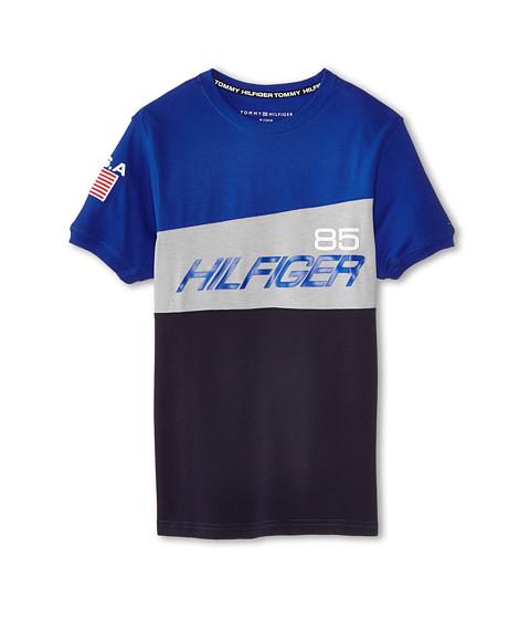 Tommy Hilfiger Kids - Short Sleeve Athlete Crew (Big Kids) (Blue Jean) Boy's Short Sleeve Pullover