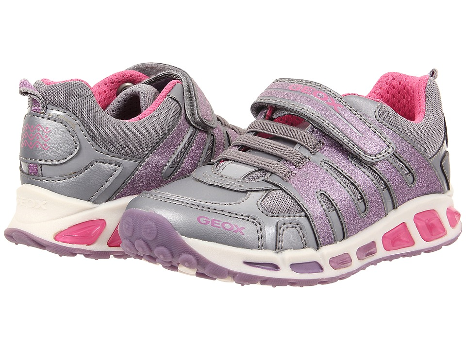 Geox Kids - Shuttle Girl 4 (Toddler/Little Kid) (Grey/Lilac) Girl's Shoes