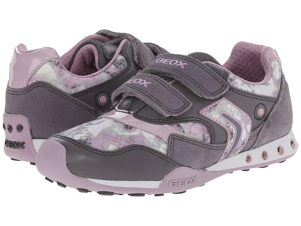 Geox Kids - New Jocker Girl 31 (Little Kid/Big Kid) (Grey/Dark Rose) Girls Shoes