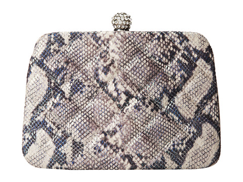 Jessica McClintock - Irridescent Snake Quilted Minaudiere (Pewter) Handbags