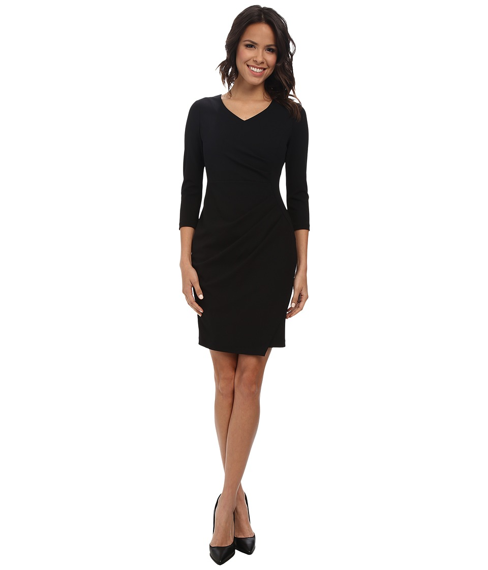 NYDJ - Rosella Stretch Crepe Drape Dress (Black) Women's Dress