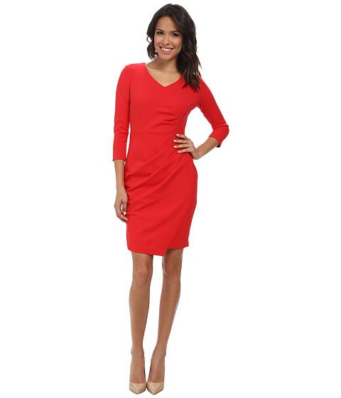 NYDJ - Rosella Stretch Crepe Drape Dress (Scarlet Red) Women's Dress