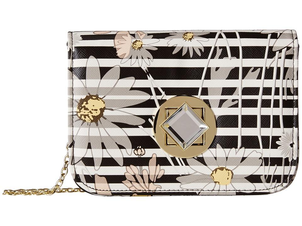 Jessica McClintock - Floral Stripe Diamond Mini Bag (Black) Handbags