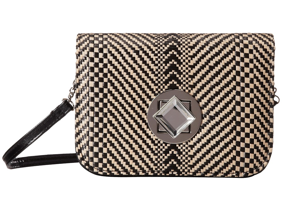 Jessica McClintock - Straw Diamond Mini Bag (Black) Handbags