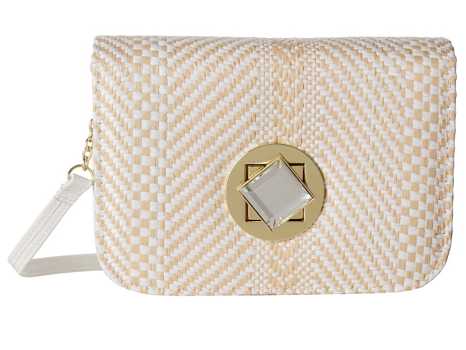 Jessica McClintock - Straw Diamond Mini Bag (White) Handbags
