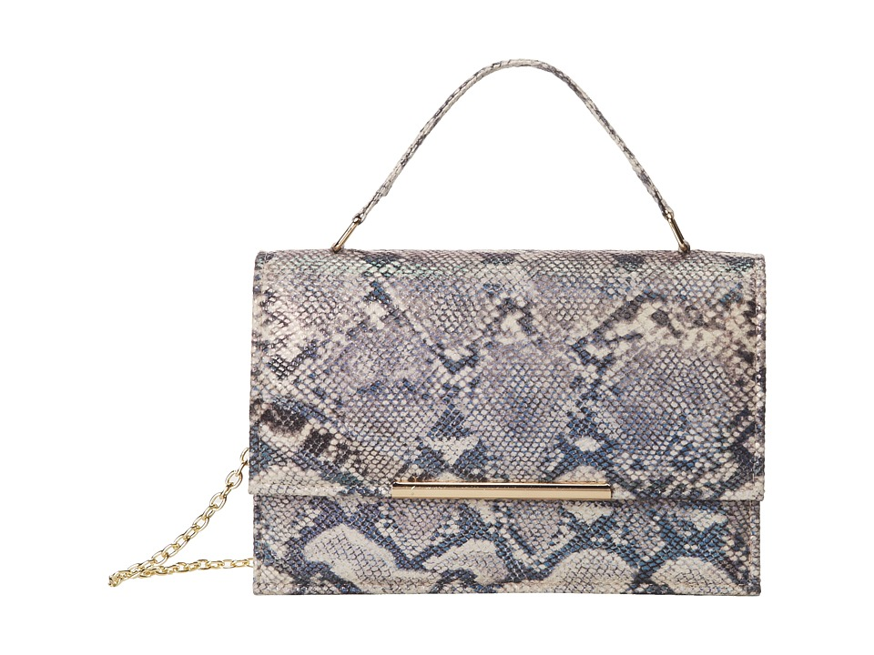 Jessica McClintock - Irridescent Snake Top Handle Bag (Pewter) Handbags