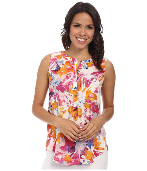 NYDJ - Sleeveless Georgette Blouse w/ Pleated Back (Tropical Floral) Women