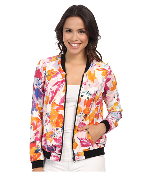 NYDJ - Tropical Floral Print Bomber (Tropical Floral) Women