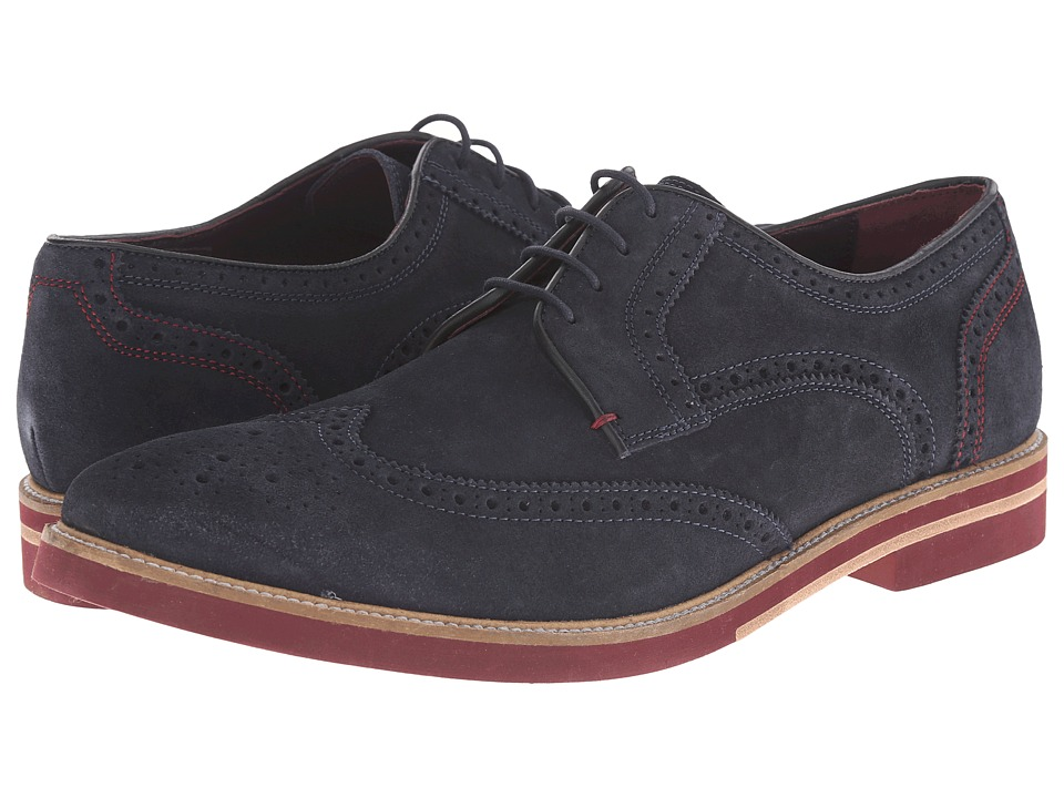 Ted Baker - Archerr (Dark Blue Suede) Men's Lace Up Wing Tip Shoes