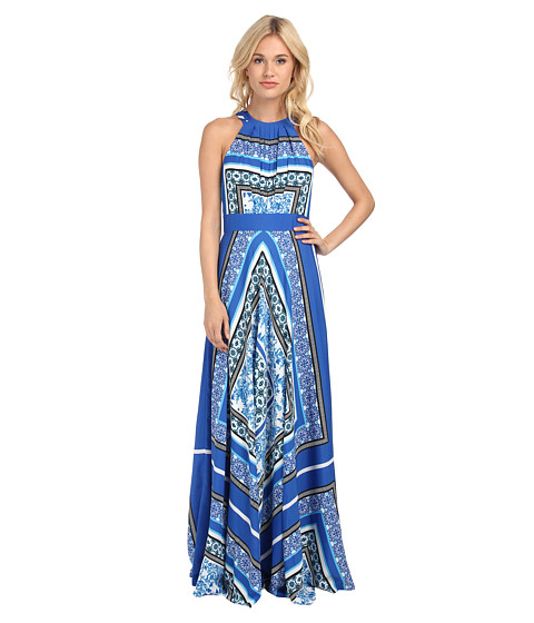Eliza J - Halter Maxi with Inset Waist (Blue) Women