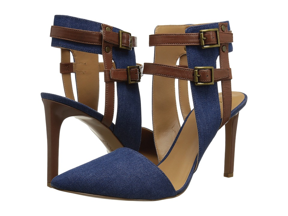 Nine West - Catchme (Blue/Brown Fabric) High Heels