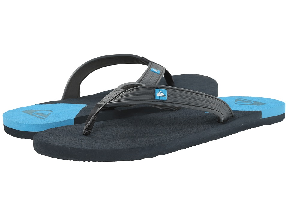 Quiksilver - Molokai New Wave Deluxe (Black/Black/Blue) Men's Sandals