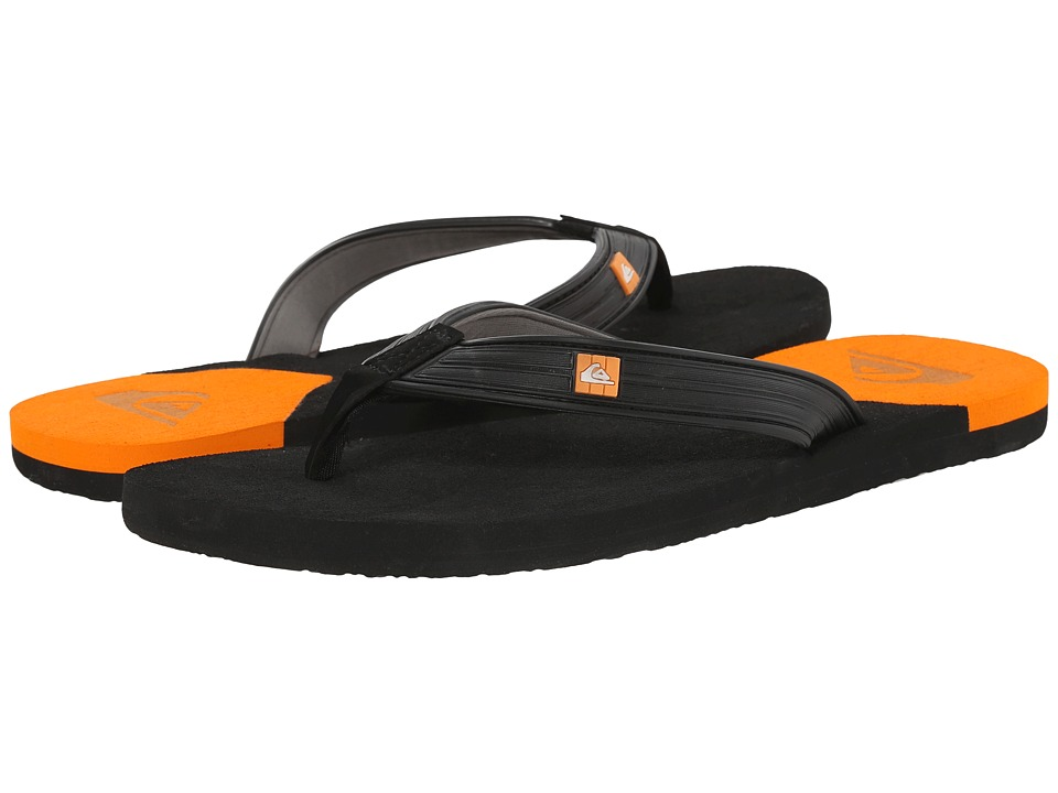 Quiksilver - Molokai New Wave Deluxe (Black/Orange/Grey) Men's Sandals