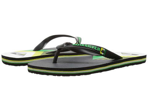 Quiksilver - Molokai New Wave Panel (Black/Green/Yellow) Men's Sandals