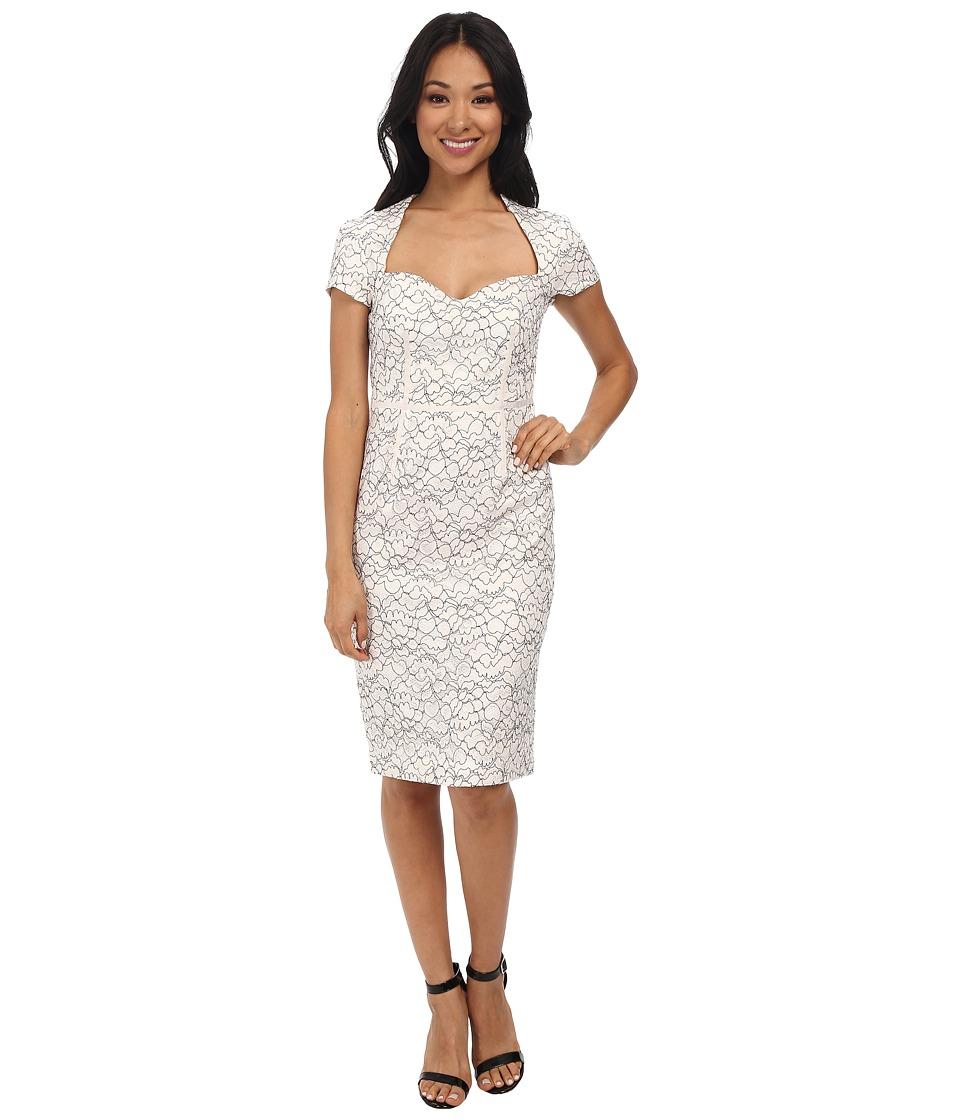 JILL JILL STUART - Nora Fitted Lace Dress (Black/White) Women's Dress