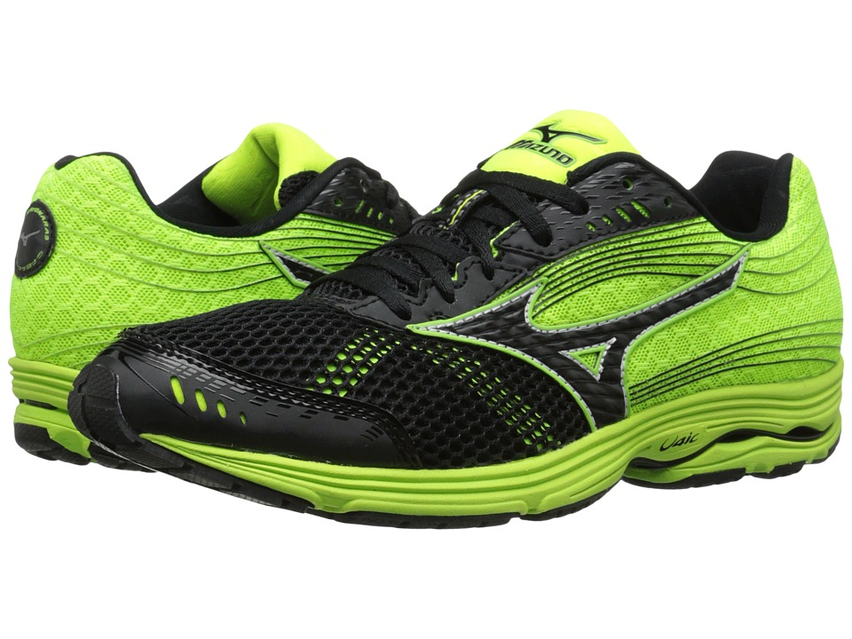 Mizuno - Wave Sayonara 3 (Black/Neon Yellow) Men's Running Shoes