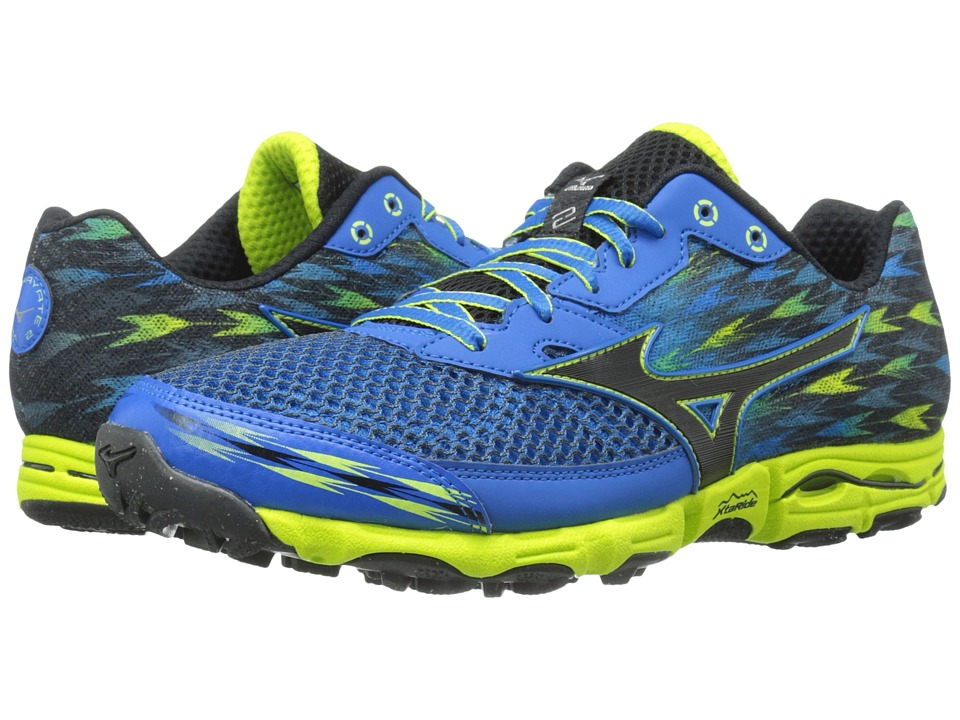 Mizuno - Wave Hayate 2 (Electric Blue Lemonade/Black/Lime Punch) Men's Running Shoes