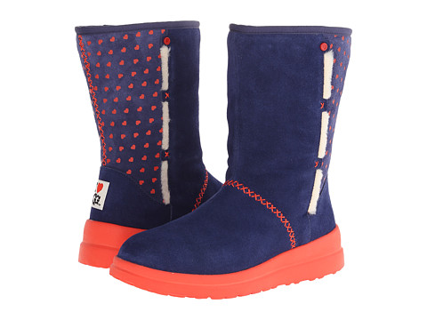 UGG - Kisses Short (Blue Jean Hearts Suede) Women's Pull-on Boots