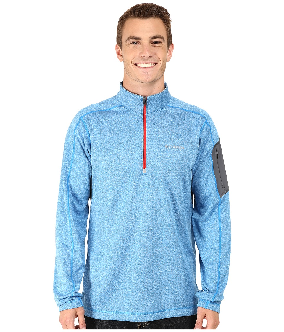 Columbia - Trail Dash Half Zip (Hyper Blue Heather/Bright Red) Men's Long Sleeve Pullover