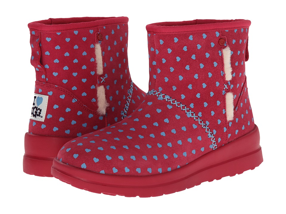 UGG - Kisses Mini (Powder Blue Hearts Suede) Women's Boots