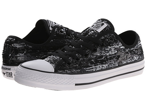 Converse - Chuck Taylor All Star Sequin Flag Ox (Black/Silver/White) Women's Lace up casual Shoes