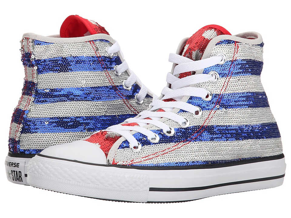 Converse - Chuck Taylor All Star Sequin Flag Hi (Silver/Electric Cobalt/White) Women