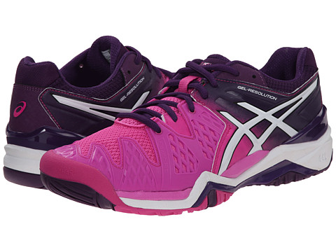 ASICS - GEL-Resolution 6 (Hot Pink/White/Purple) Women's Tennis Shoes