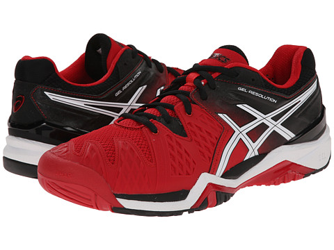 ASICS - GEL-Resolution 6 (Fiery Red/Black/White) Men's Shoes