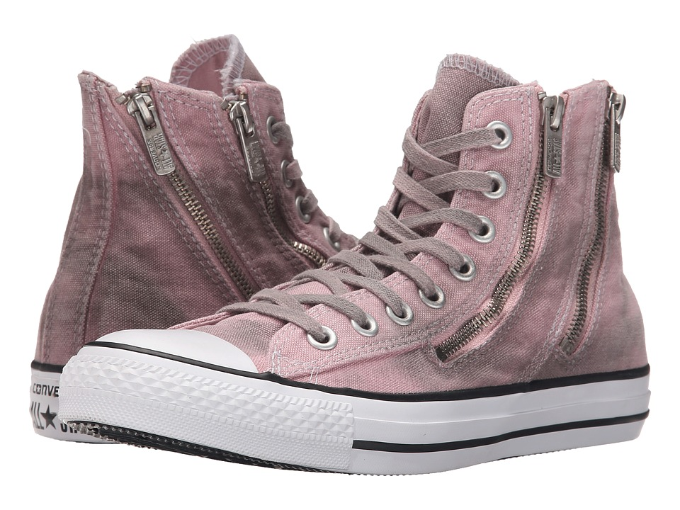 Converse - Chuck Taylor All Star Dual Zip Black Overdye Wash Hi (Pink Freeze/Black/White) Women's Lace up casual Shoes