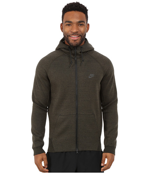 Nike - Tech Fleece AW77 1.0 Full-Zip Hoodie (Cargo Khaki/Black/Heather/Black) Men
