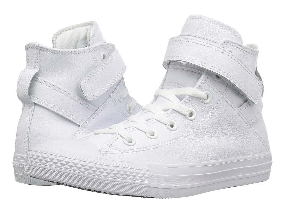 Converse - Chuck Taylor(r) All Star(r) Brea Mono Leather Hi (White/White/White) Women's Lace up casual Shoes