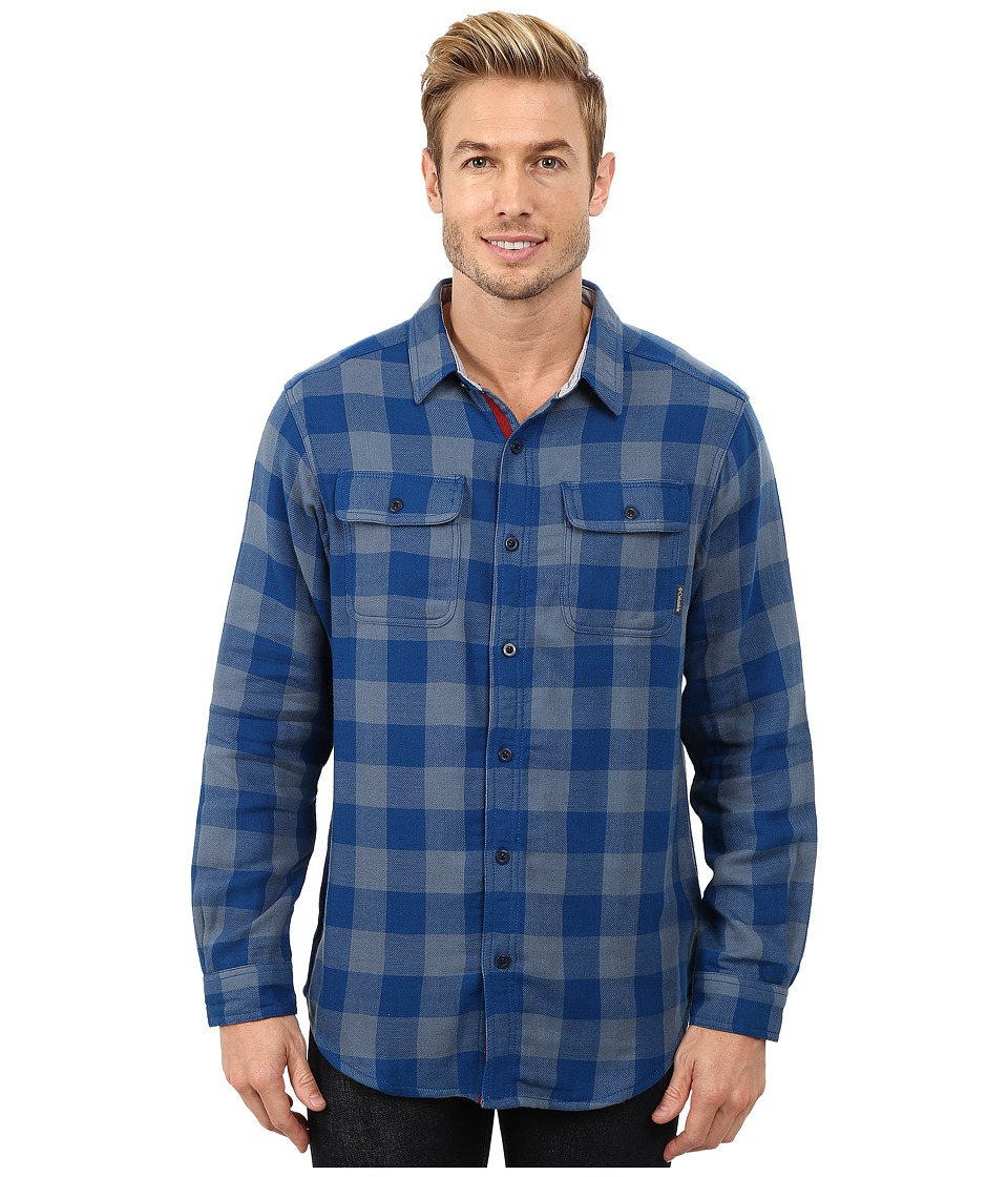 Columbia - Falldaletm Double Cloth Long Sleeve Shirt (Marine Blue Plaid) Men's Long Sleeve Button Up