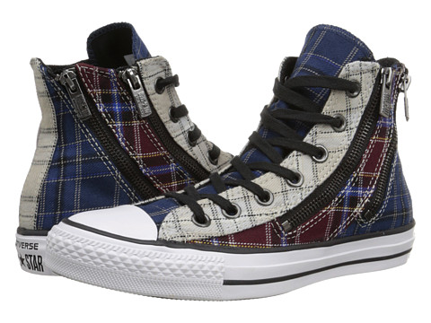 Converse - Chuck Taylor All Star Dual Zip Plaid Hi (White/Deep Bordeaux/Navy) Women