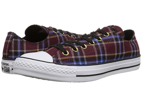 Converse - Chuck Taylor All Star Plaid Ox (Deep Bordeaux/White/Black) Women's Lace up casual Shoes