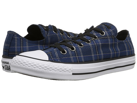 Converse - Chuck Taylor All Star Plaid Ox (Nighttime Navy/Black/White) Women's Lace up casual Shoes