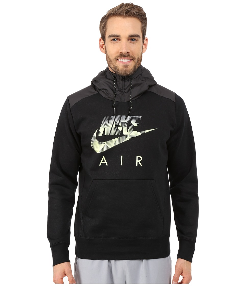 Nike - AW77 Fleece Hoodie Fabric Mix (Black Heather/Black/Volt) Men's Sweatshirt
