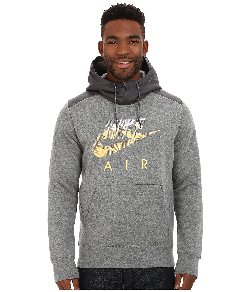 Nike - AW77 Fleece Hoodie Fabric Mix (Carbon Heather/Wolf Grey/Laser Orange) Men's Sweatshirt