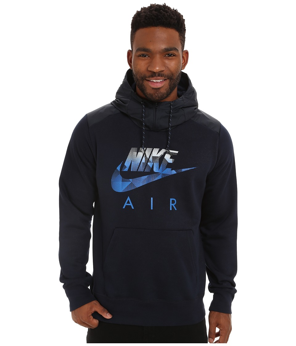 Nike - AW77 Fleece Hoodie Fabric Mix (Dark Obsidian/Heather/Dark Obsidian/Soar) Men's Sweatshirt