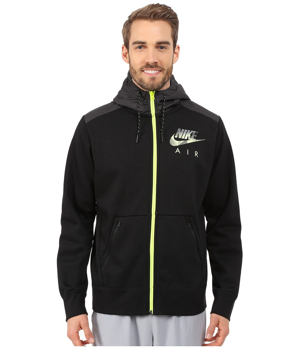 Nike - AW77 Fleece Full-Zip Hoodie Hybrid (Black Heather/Black/Volt) Men's Sweatshirt