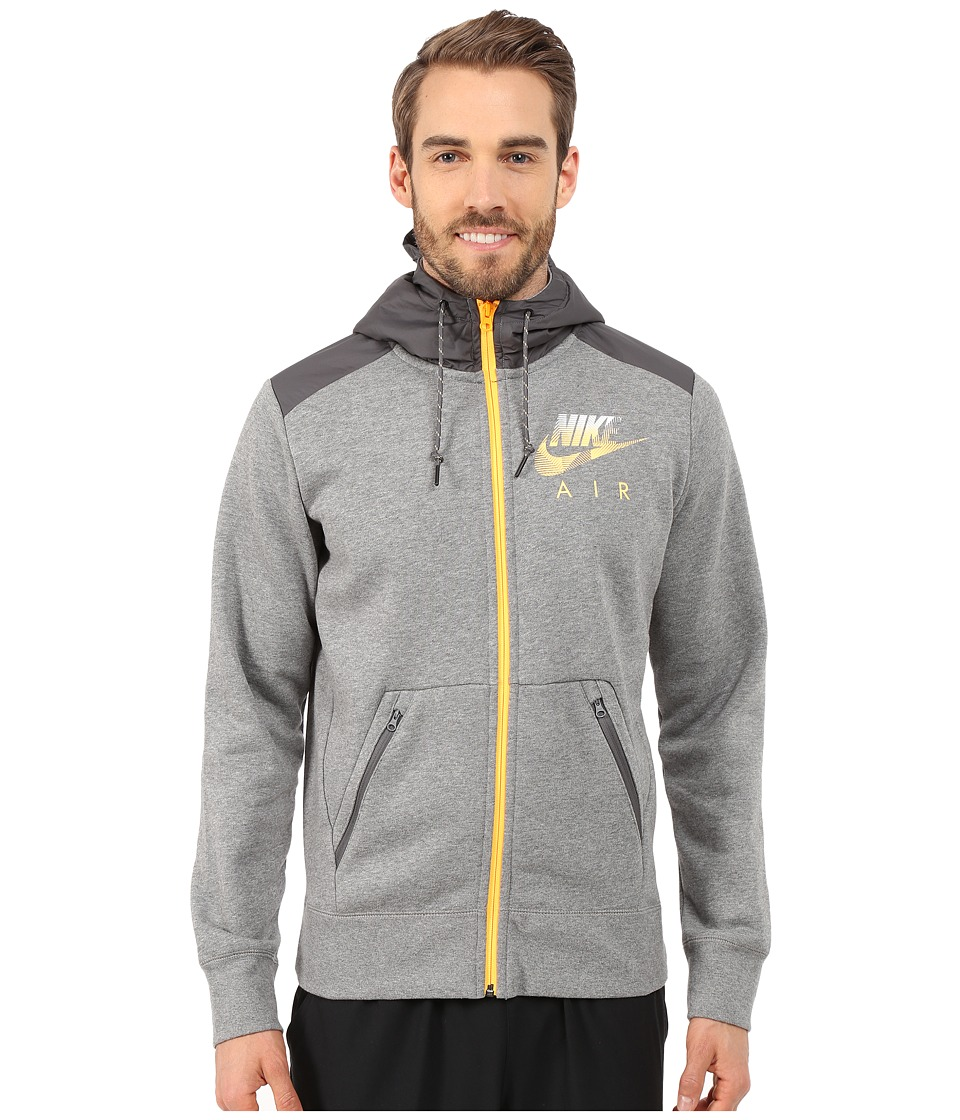 Nike - AW77 Fleece Full-Zip Hoodie Hybrid (Carbon Heather/Wolf Grey/Laser Orange) Men's Sweatshirt