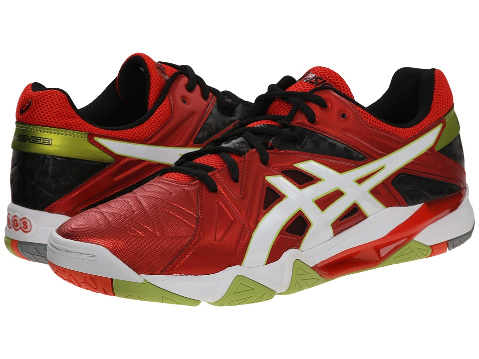 ASICS - GEL-Cyber Sensei (Cherry Tomato/White/Black) Men's Volleyball Shoes