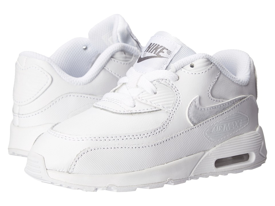 Nike Kids - Air Max 90 LTR (Infant/Toddler) (White/Cool Grey/White) Kids Shoes