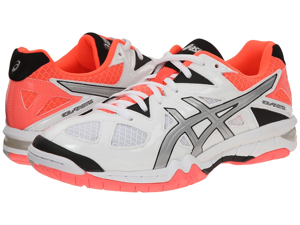 ASICS - GEL-Tactic (White/Silver/Flash Coral) Women's Volleyball Shoes