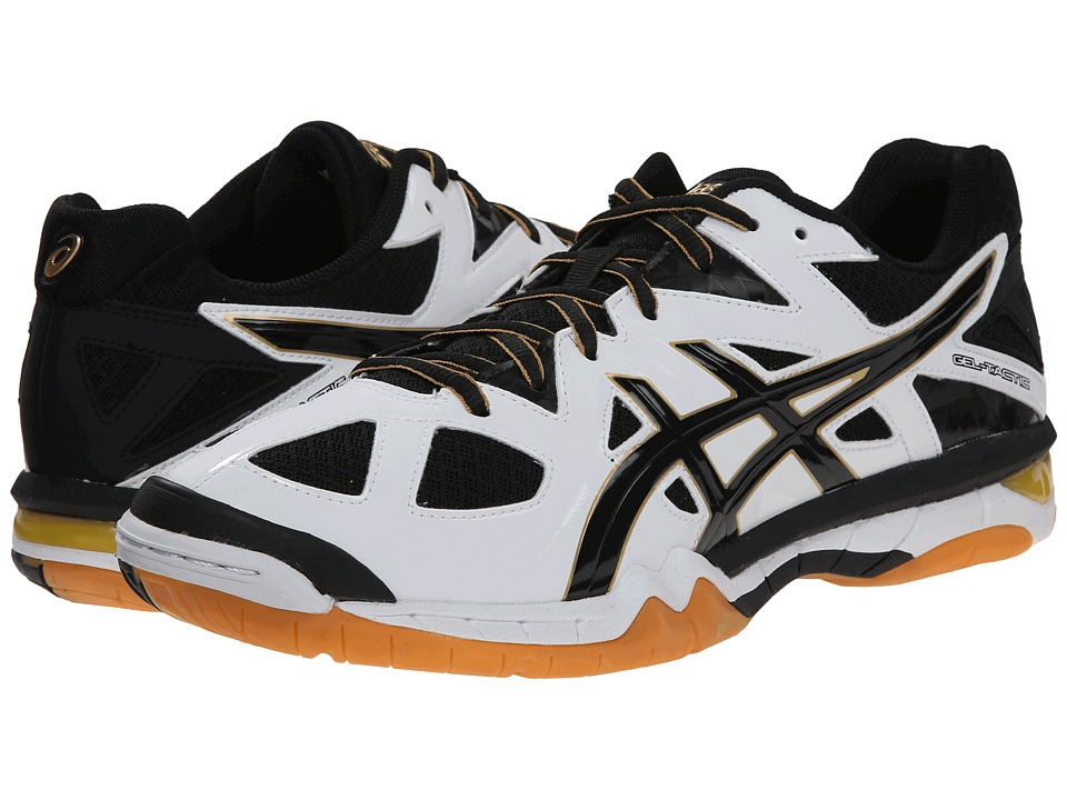 ASICS - GEL-Tactictm (White/Black/Pale Gold) Men's Volleyball Shoes