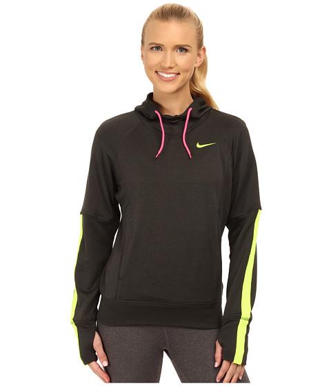 Nike - Dri-FIT Comfort Hoodie (Black Heather/Pink Pow/Volt) Women's Sweater