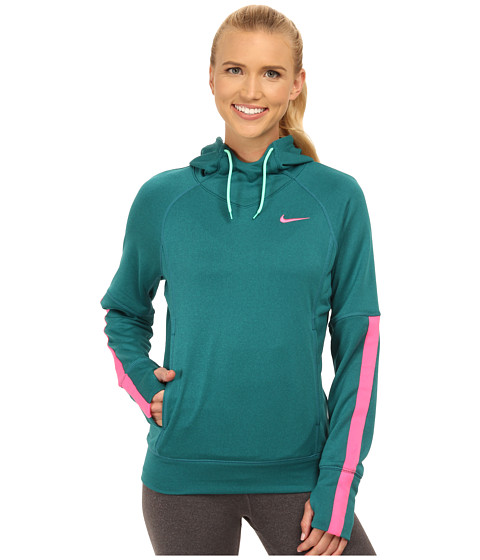Nike - Dri-FIT Comfort Hoodie (Teal/Radiant Emerald/Green Glow/Pink Pow) Women's Sweater