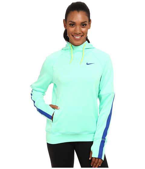 Nike - Dri-FIT Comfort Hoodie (Green Glow/White/Volt/Game Royal) Women's Sweater