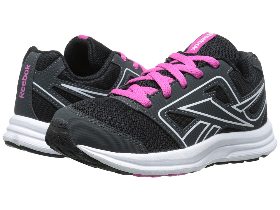 Reebok Kids - Zone Cushrun (Little Kid/Big Kid) (Gravel/Black/Charged Pink/White) Girls Shoes