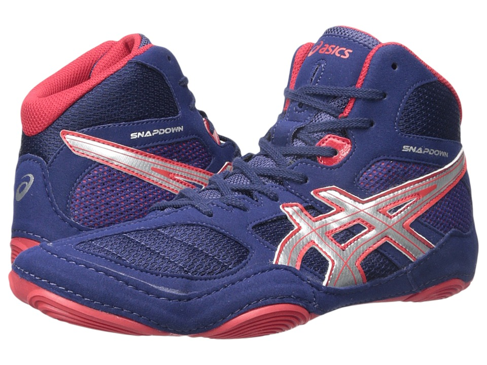 ASICS - Snapdown (Navy/Silver/Red) Men's Wrestling Shoes